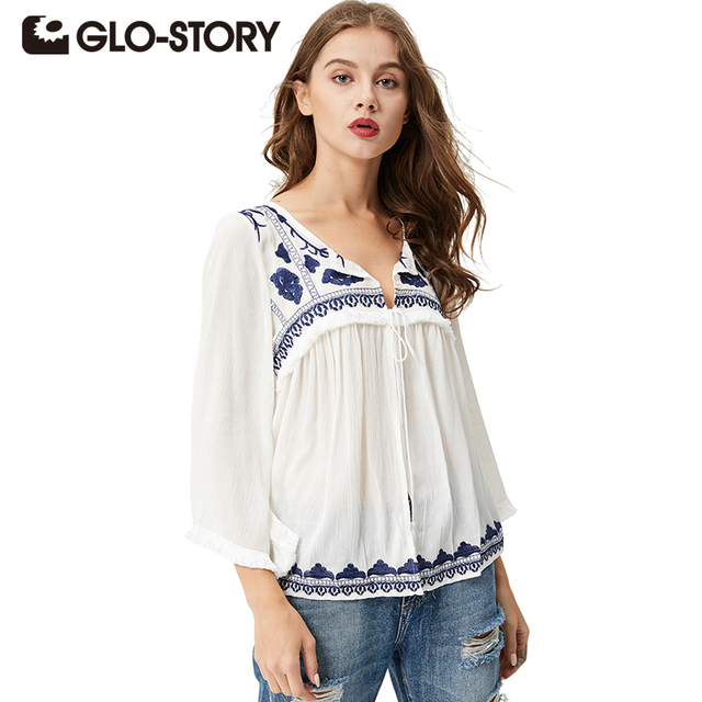 a10ec609c9ac09 GLO-STORY Women Ethnic Embroidery Blouses 2018 Bohemian Long Sleeve V-neck  White Tassel Lace Up Blouse Shirt Blusas WCS-3627