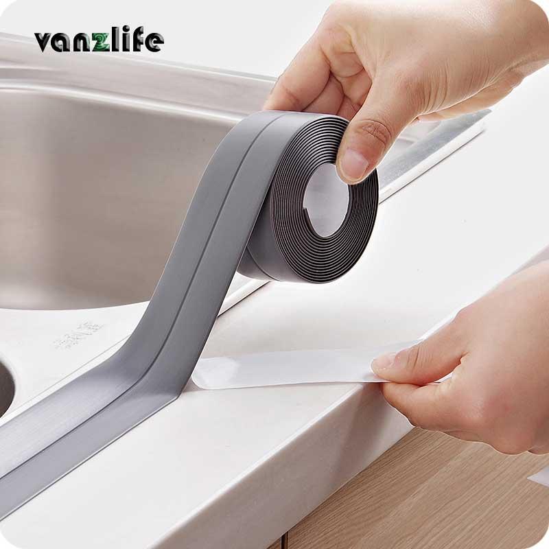 2pcs/ vanzlife kitchen living room waterproof corner lining anti-collision adhesive tape, moisture mildew proofing line stickers