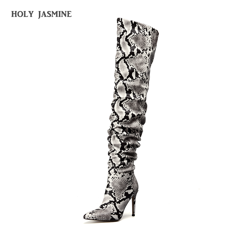 2019 New Slouch Thigh High Boot Snake Skin Over the Knee Boots Sexy Super High Thin Heel Pleated Pointed Toe Botte Femme Talon