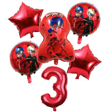 6pcs/lot Ladybug Foil Balloons Birthday Party Decorations Helium Mylar And 32 Inch Number Balloon Wholesale