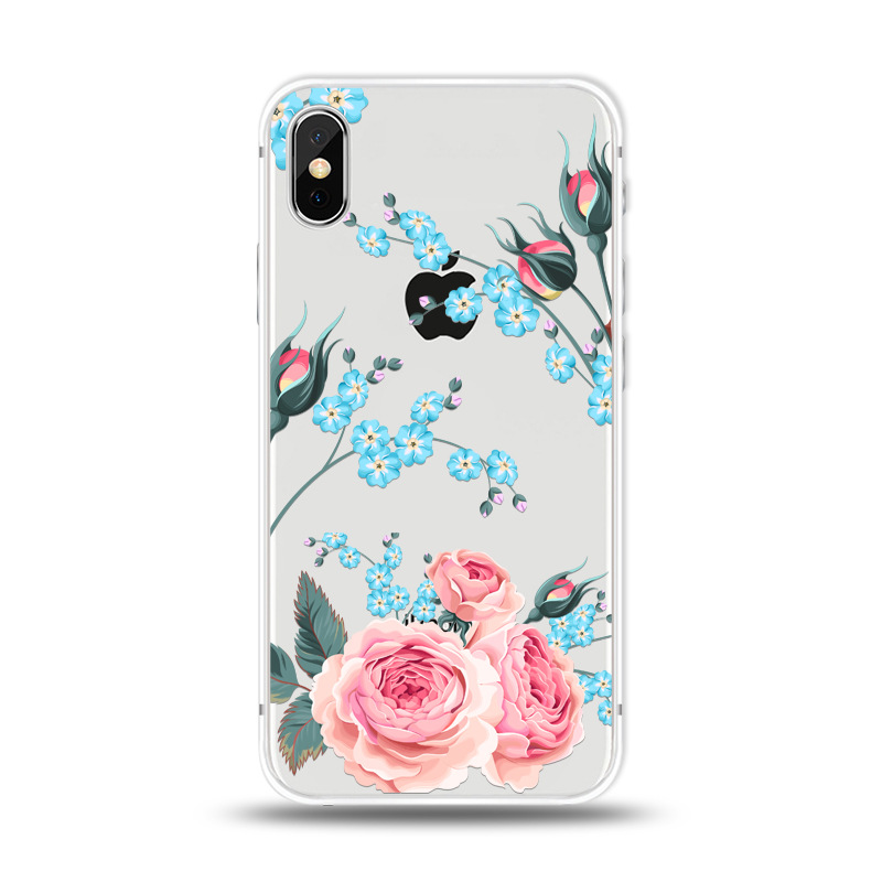 KIPX1027C_1_JONSNOW For iPhone 7 Flowers Pattern Soft Case For iPhone 6 6S 7 8 Plus Clear Back Cover for iPhone 5 5S SE Capa Coque Fundas