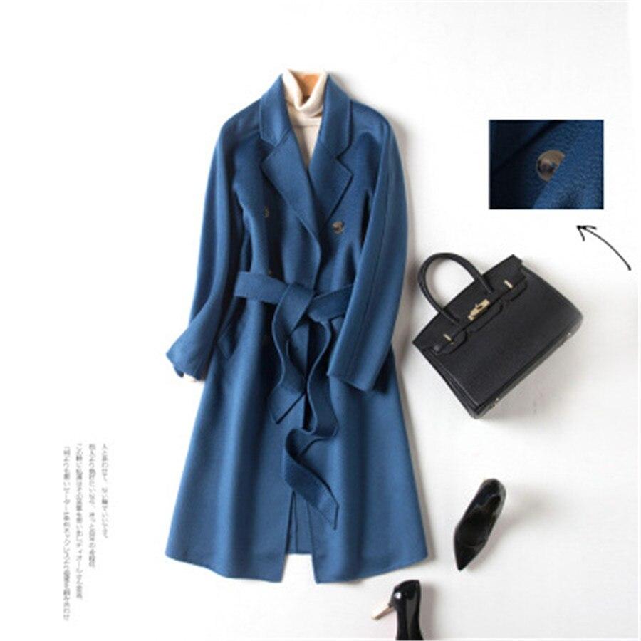Beige blue Cachemire Des Double Laine Longue Mode De Supérieure Qualité camel Manteau Section Hepburn Vent Ins 2019 En face Nouvelles Femmes 34AjL5Rq
