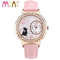 M: N: Handgemaakte 3D PPOLYMER KLEI lederen Quartz Casual Horloge Vrouwen Dames Jurk Kinderen meisjes mini wereld horloge 3ATM