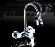 Настенный Stream опрыскиватель смеситель для кухни Одной ручкой хром гибкий шланг кухонных смесители Двойной отверстия Бесплатная доставка