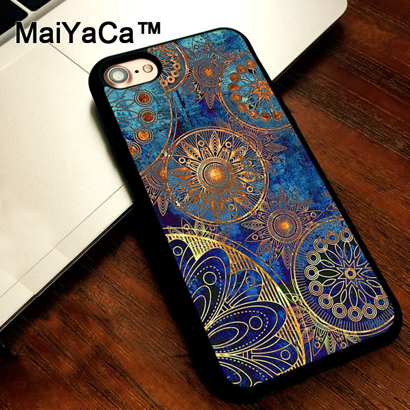 MaiYaCa Luxury Mandala Golden cover soft TPU Rubber Skin Mobile Phone case For iPhone 5s SE 5 funda Coque Back Shell