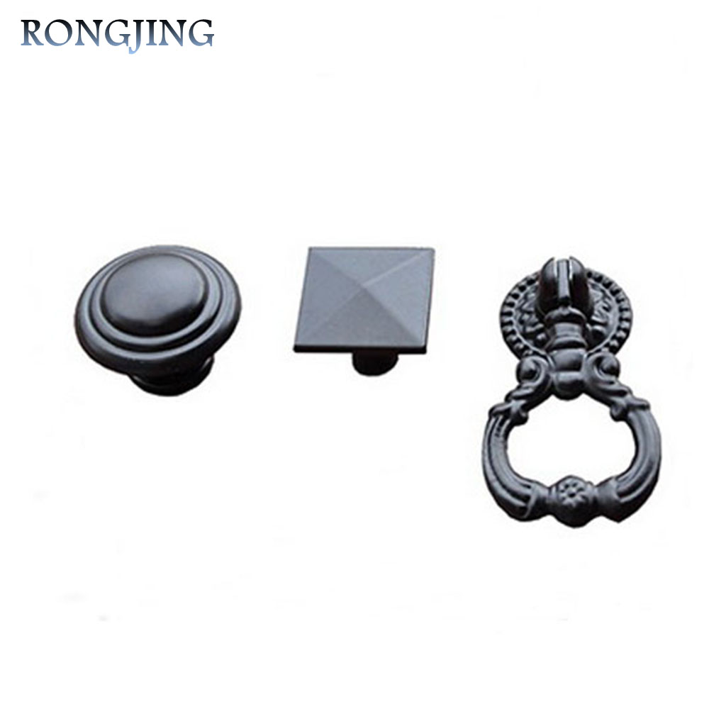 2pcs Black Cabinet Drawer Knobs Kitchen Cabinet Pulls Square Wine Cabinet  Knob Round Shoes Box Handles Bars Pulls Cupboard Knobs