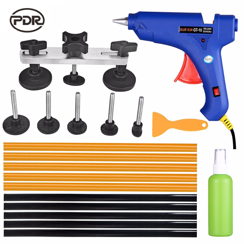 PDR Tools Paintless Dent Repair Puller Kit Car Body Remove Dents Tools Tahání Bridge Lepicí tyčinky Lepicí pistole Odstraňovač lepidla