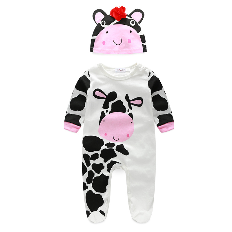 New Animal Shapes baby Cotton Cartoon Series Hooded Romper Cow/tiger/lion/panda Jumpsuit Climbing Clothes Children Spring models