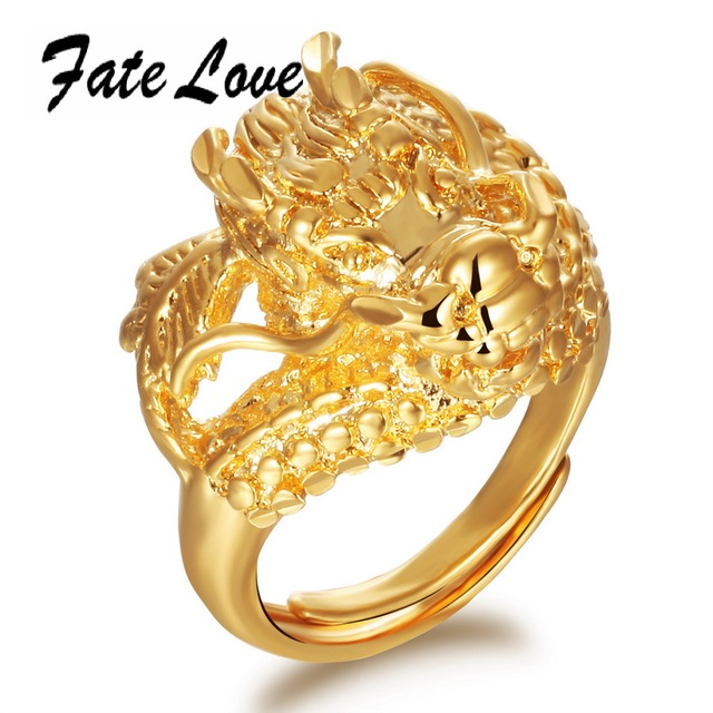 Clic Wedding Ring 18k Gold Plated Dragon Band New Punk Size Adjule For