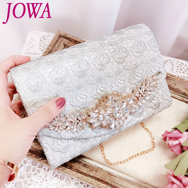 2018 New Design Women's Evening Bags Fashion Lace Small Handbag Lady Pink Flap Pocket Wedding Party Shiny Diamond Clutch 2 Color lapel flap pocket color block wool blend blazer