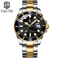 TACTO Mens Luxury Quartz Watch Two Tones Removable Bezel Stainless Steel Dress Male Wrist Watches 50M Waterproof