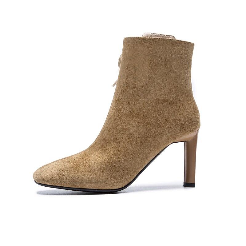 La Femme Talons khahi Petit En Bottes Fahsion À Noir Marque Nouveau Noir Doratasia Haute Daim Cuir Cheville Mode Chaussures pSUzVM