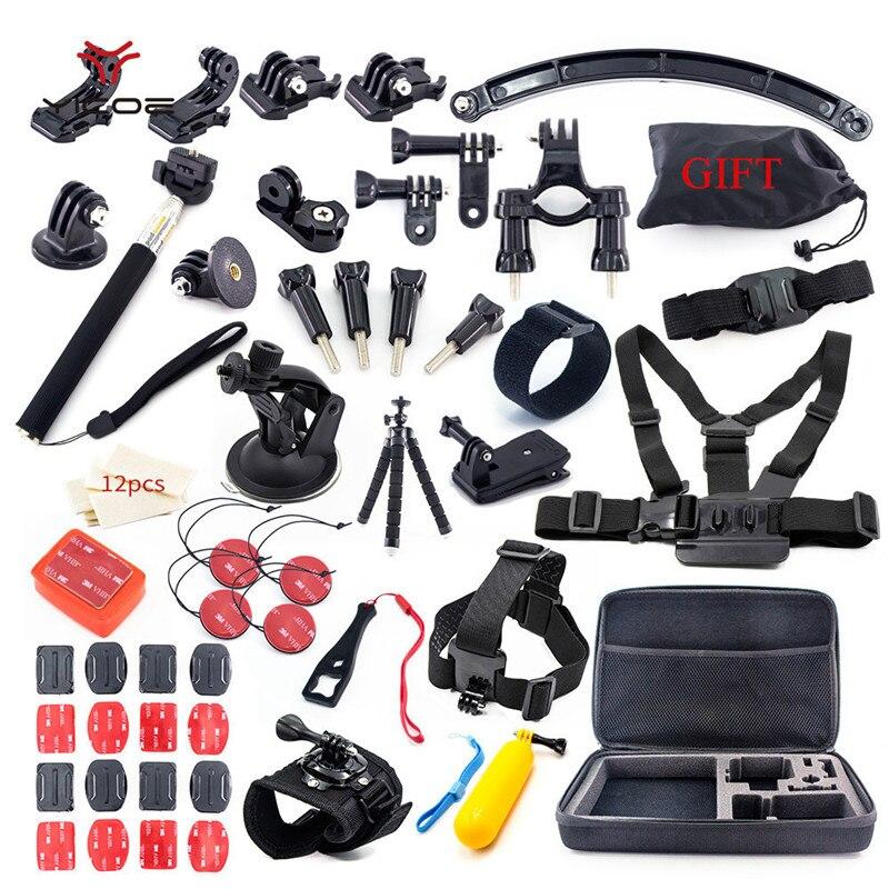 Pour Go Pro Hero7 6 5 4 3 Xiaomi yi mijia 4 k Accessoires Kit SJCAM SJ6 SJ7 4 k malette GoPro Trépied Bâton Mont Monopode ActionCamera