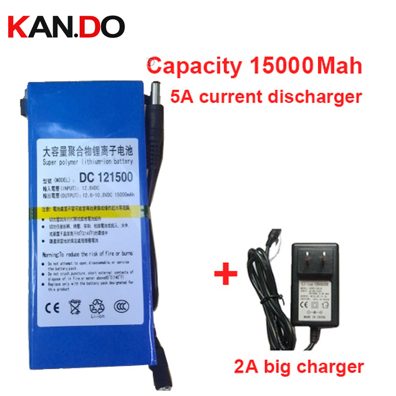 real 15000 Mah 5A current discharge,li-ion polymer battery 2A charger DC 12V battery pack lithium polymer battery pack battery, 12 6v 2a lithium battery charger eu us plug 12 6 v charger 3 series li ion battery polymer smart charger 18650 battery pack