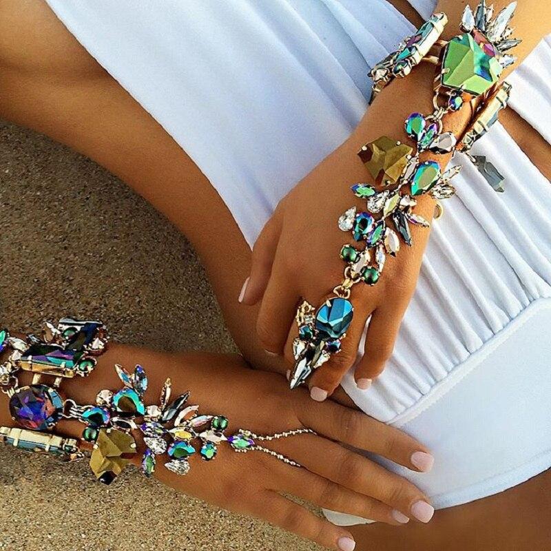 JURAN Sexy Crystal Statement Armband 2019 Enkelbanden & Armband Bohemen Vrouwelijke Boho Kristal Armbanden Voor Vrouwen maxi Sieraden Q1207