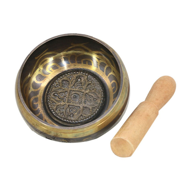 Yoga Mats Buddhism Tibetan Singing Bowl Hand Hammered Yoga Copper Chakra Meditation Bowl With Relax Soothing Sound Decoration