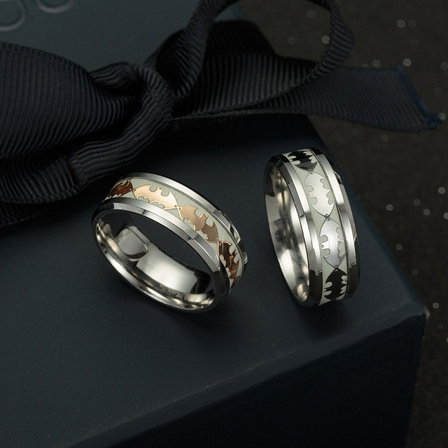 Bat Design Luminous Rings Stainless Steel Glow In The Dark Wedding