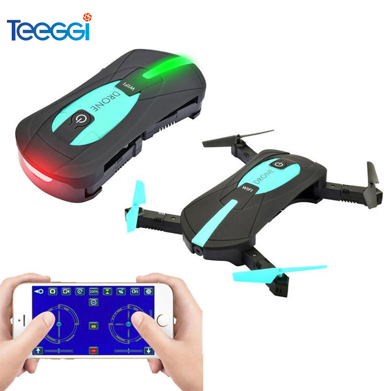 Teeggi JY018 Mini Selfie Foldable RC Drone with Camera WIFI FPV Altitude Hold RC Quadcopter Helicopter Dron VS JJRC H47 H37mini yizhan x8h jjrc x8h fpv rc quadcopter altitude hold drone with wifi camera 2 4g 6 axis rc helicopter dron vs jjrc h8c