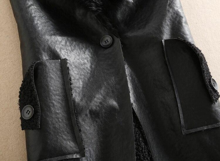 Noir Automne Nouveau Manteaux Gilet Naturel Lapin Femmes Manteau De Fourrure Hiver Mon Col Chaud Veste Pu Survêtement Dans w7pqndWI