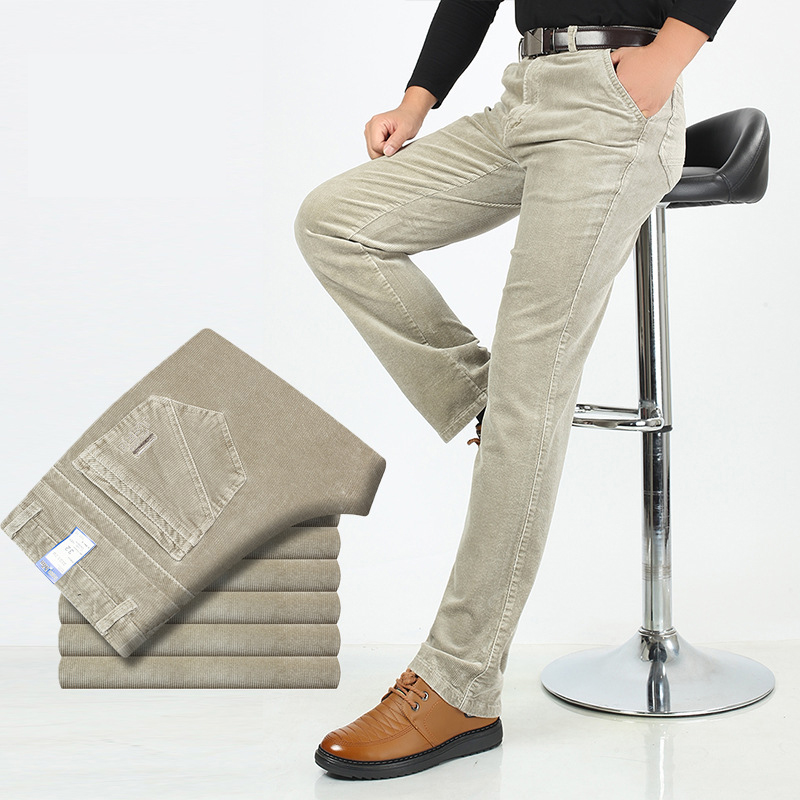 Autumn Winter Warm Men Stretch Corduroy Pants Loose Straight Slacks Long Business Casual High Thicken Trousers
