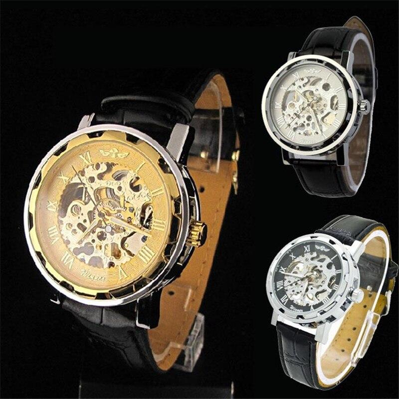 3 Colorful Classic Men Leather Dial Skeleton Mechanical Sport Army Wrist Watch Women Men Relojes