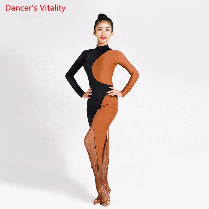 Double color splicing Latin Dance dress Adult female Cha Cha/Rumba/Samba/Tango costume women/lady Stage performance clothes