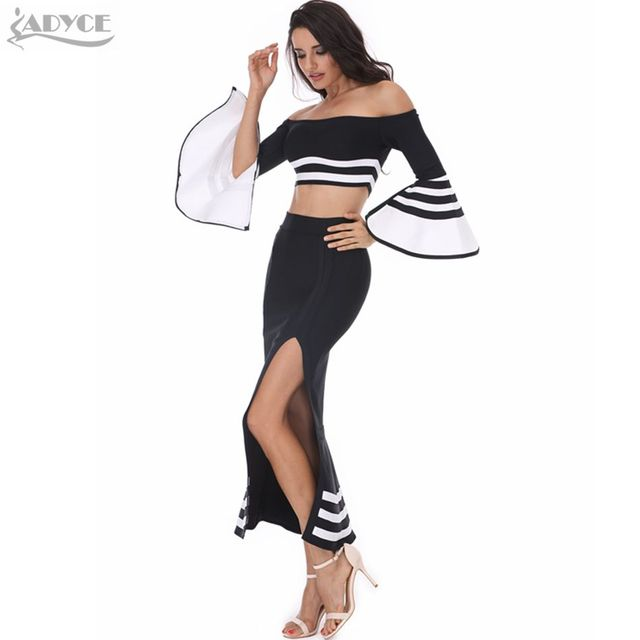 2016 New Women Runway Two Piece Set Bandage Dress Black White Patchwork Slash Neck Fishtail Cut Out Hot Evening Party Midi Dress