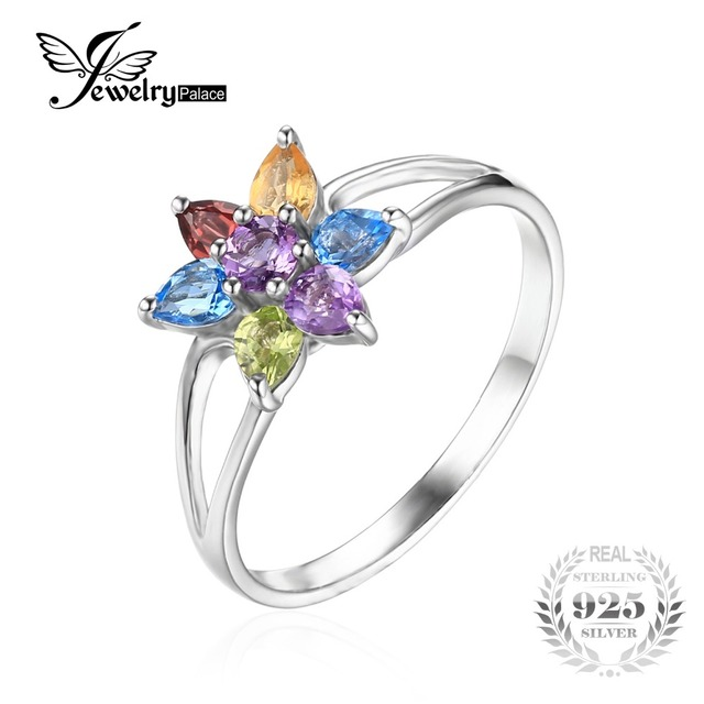 JewelryPalace Flower 1.1ct Natural Amethyst Citrine Garnet Peridot Blue Topaz Ring For Women 925 Sterling Silver Fine Jewelry