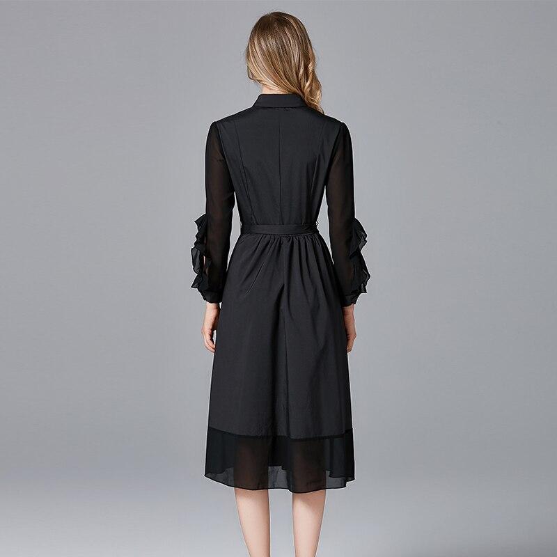 2019 mode design femmes arc a-ligne casual robes couleur noire grande taille printemps automne femmes marque noir a-ligne robe - 5
