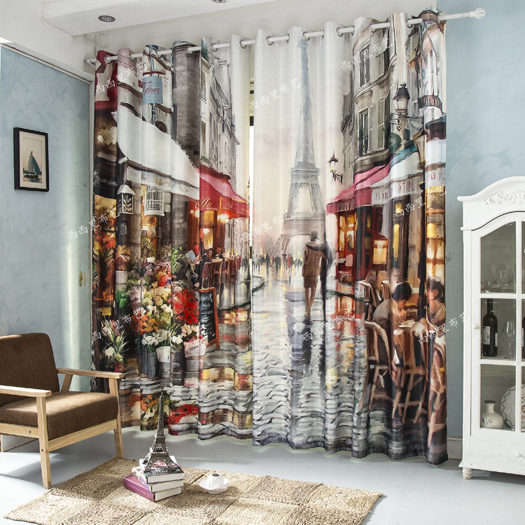 MYRU D Watercolor Printing Blackout Curtains Eiffel Tower Curtian - Cafe curtains for living room