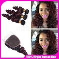 Two Tone 1B/99J Burgundy Dark Root Ombre Virgin Hair With Closure Wine Red Loose Wave Human Hair 3 Bundles With 4*4 Lace Closure