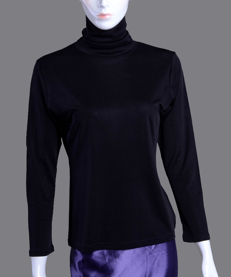 Women's 100% Pure Silk T Shirt Turtleneck Long Sleeve Thermal ...