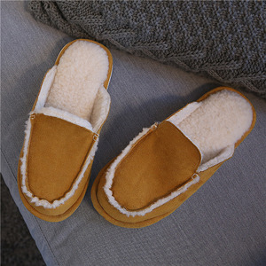 Image 3 - Vintage British Style Couple Home Slippers Men Women Winter Warm Faux Suede Vamp Wool lining Solid Color Indoor Floor House Shoe