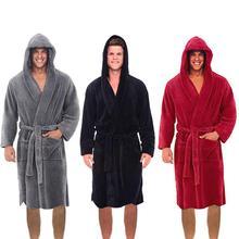 Модный повседневный мужской фланелевый Халат с капюшоном и длинным рукавом, мужской и женский халат, плюшевая шаль, кимоно, теплый мужской халат, пальто