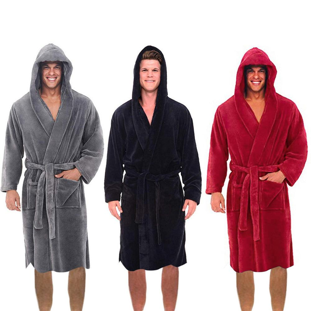 Fashion Casual Mens Bathrobes Flannel Robe Hooded Long Sleeve Couple Men Woman Robe Plush Shawl Kimono Warm Male Bathrobe Coat #