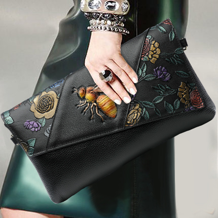 Chinese Style Women Clutch Purse Genuine Leather Top Leather Envelope Bag Fashion Chain Shoulder Messenger Crossbody Bags Wallet casual solid color top leather shoulder bag heart shaped decoration cover fashion women clutch wallet crossbody messenger bag