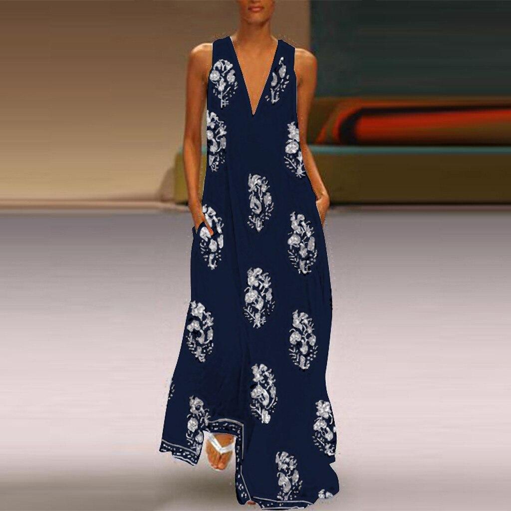 Women Boho Summer Long Dress Girl Ethnic V Neck Sleeveless Floral Print Sundress Maxi Dress Casual Beach Style Plus Size Dress