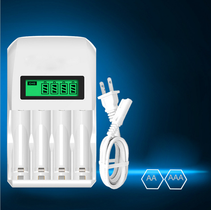 4 Slots Hour Seper AA / AAA Rechargeable Battery Charger DC 1.2V Mains LCD Screen Faster Battery Charger #YL