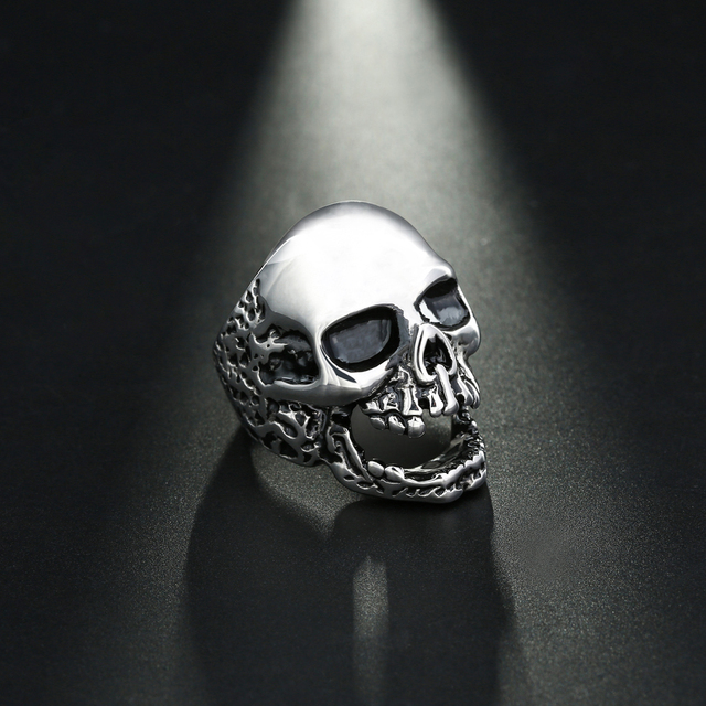 Fashion Jewelry Skull Rings Gothic Skeleton Punk Vintage Scar Jaw Stainless Steel Male Bike Rings For Men US Size 8-12 Wholesale