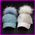 Winter PU Leather Baseball Cap With Fur Pom poms For Men Women Hip Hop Fur Ball Snapback Caps Hats