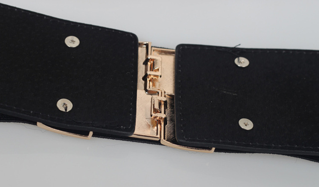High Quality Fashion Women Belt Korean Stretch Elastic Waistband Wide Metal Waist Belts 4 Colors