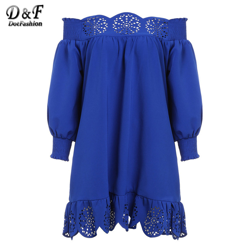 2016 Cute New Arrival Casual Style Fashion Korean Brand Dresses Blue Off The Shoulder Long Sleeve Peplum Hem Hollow Dress