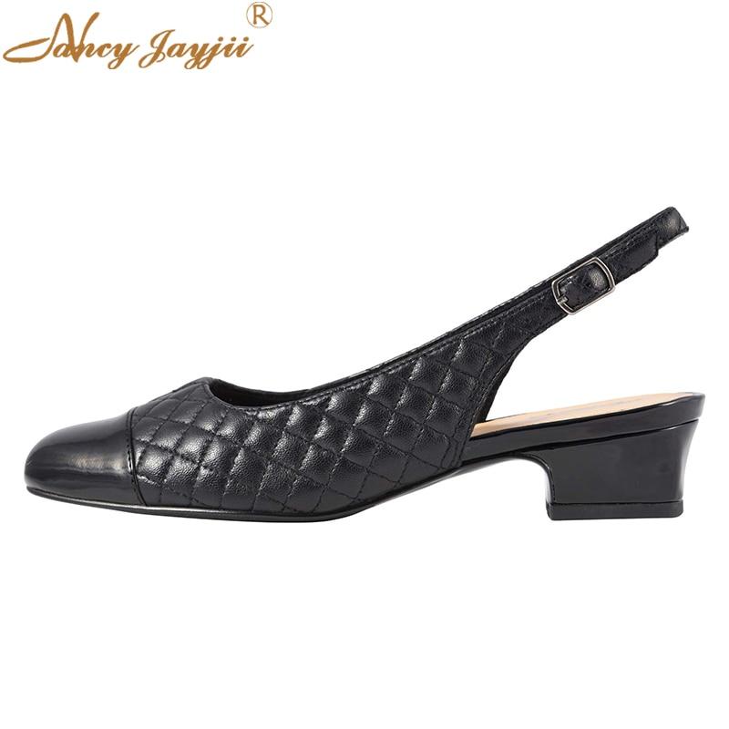 Toe Noir Cap Bloc Femmes Solide Nancyjayjii Chaussures Brevet Ty01 Mode De 2019 Bas Pompes Matelassé Pour Loisirs Talons Carré Slingbacks 1IgSxxqwd