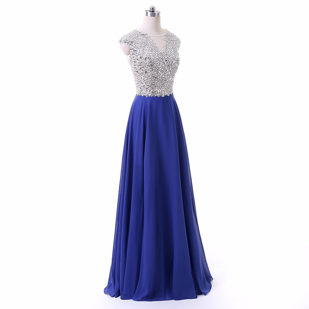 Chiffon Scoop Neck Cap Sleeves Long Evening Dress