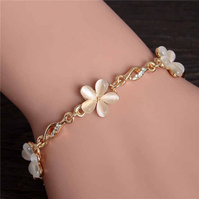 Braided Gold color Flower Bracelets & Bangles With Opal Stone Beads Luxury Crystal Bracelets For Women Wedding Summer Jewelry