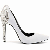 LOSLANDIFEN new pointed toe thin heels faux suede splice snake striae women mixed collor velvet shoes sexy white wedding pumps