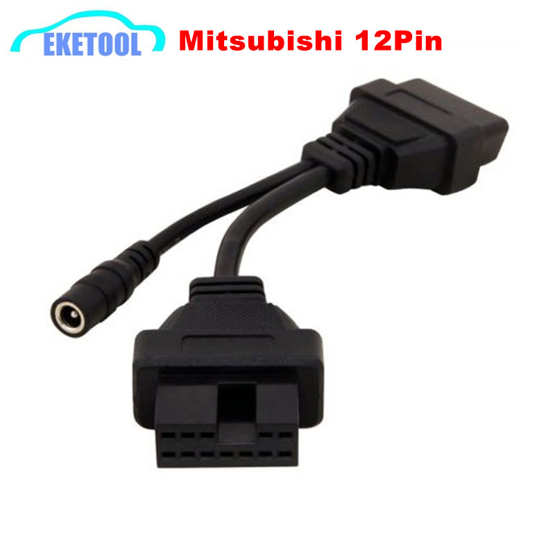 For Mitsubishi 12Pin Male To OBD 16Pin Female OBD Extension Diagnostic Connector Transfer OBD II 16Pin For Mitsubishi 12 Pin