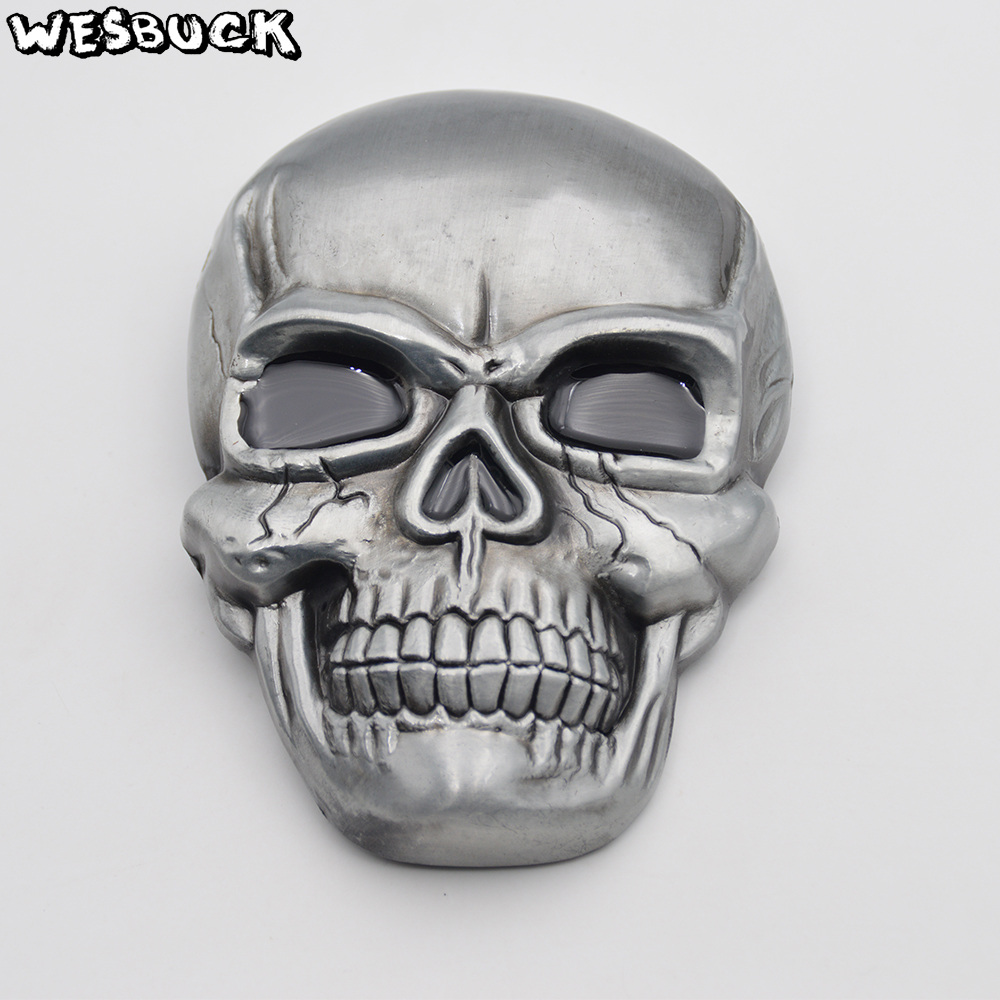 WesBuck Brand Retail New Style Skull Cowboy Belt Buckle For Men Women Jeans Accessories Festival Gifts