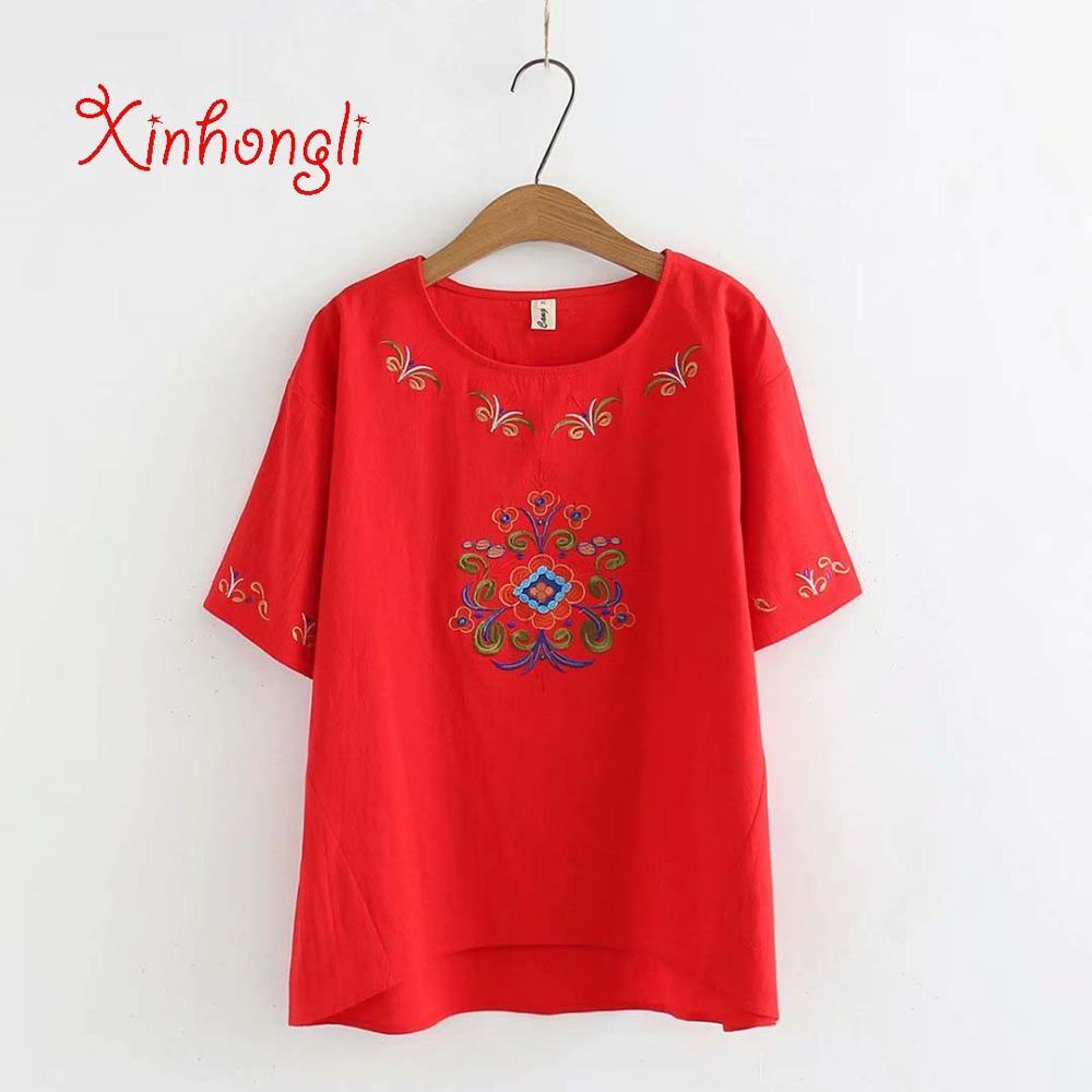 Plus size vintage Embroidered cotton linen women tshirts ...