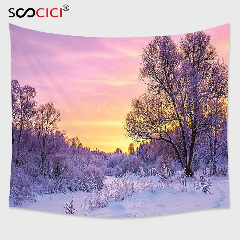 Cutom Tapestry Wall Hanging,Farm House Decor Winter Landscape with Sunset and Frozen Trees Ice Weather Blizzard Cold Days Image